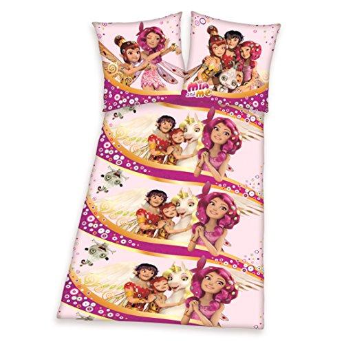 Herding MIA & ME Bettwäsche-Set, Kopfkissenbezug 80x80cm, Bettbezug 135x200cm, 100% Baumwolle, Flanell, mit praktischer Knopfleiste