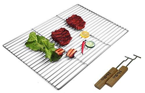 selber Grillrost aus Edelstahl Eckig 54 cm x 34 cm inkl. 2 Griffe