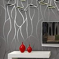 モダンでシンプルな不織布壁紙リビングルームTvソファ寝室の背景壁の家の装飾のための3Dステレオ湾曲ストライプ壁紙,250(W)*175(H)Cm