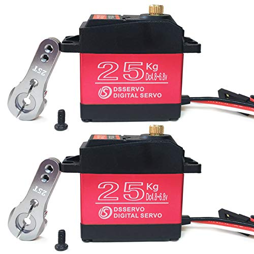 Pack of 2 Digital Servo 25KG Full Metal Gear High Torque Waterproof for RC Car Crawler Robot Control Angle 270°