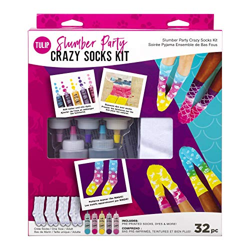 Tulip OneStep TieDye Kit 43195 Slumber Crazy Kit 4 Pairs of Socks Supplies Party Favors 5 Bright Tie Dye Colors