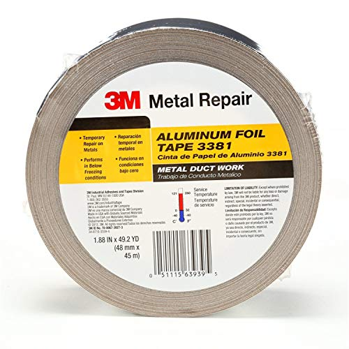 """3M Aluminum Foil Tape 3381, 1.88"""" x 50 yd, 2.7 mil, Silver, HVAC, Sealing and Patching, Moisture Barrier, Cold Weather, Air Ducts, Foam Sheathing Boards, Insulation, Metal Repair, 051111078129"""