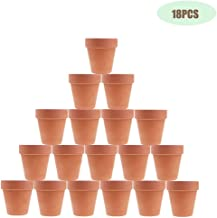JULIA 3 Inches Terracotta Clay Pots Pack of 18 pcs- Pottery Fleshy Flower Planter with Drainage Hole,for DIY Home and Office Desktop/Windowsill/Ornament Decoration Wedding