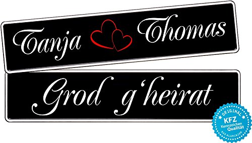 liebesmasche KFZ-Kennzeichen Hochzeit schwarz Autoschilder Hochzeitsschilder Namensschilder Grod g\'heirat mit Namen 0400-0010