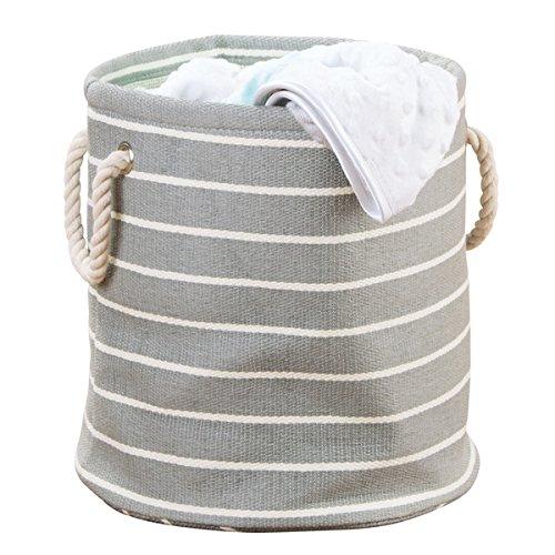 mDesign kleine waszak - ronde wasmand van rotan met handgrepen - multifunctionele tas perfect voor orde in de kinderkamer - grijs/crème