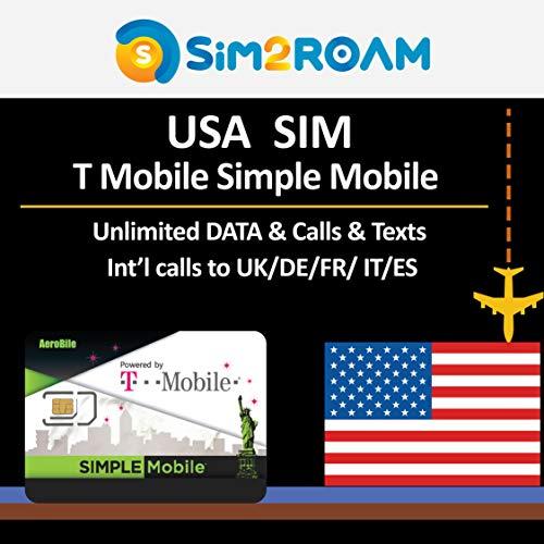 USA SIM-kaart T-Mobile Eenvoudige Mobiele 7 Dagen Prepaid SIM-kaart Onbeperkt 4G Internet Data, Oproepen, Teksten+ Gratis internationale Oproepen naar UK, US Eenvoudige Mobiele T-Mobile Netwerk Dekking in Verenigde Staten Nationwide, 10 Days