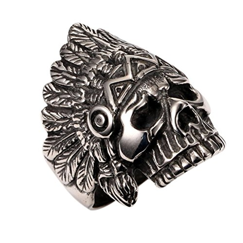 PAURO Cool Feather Dayak Indian Headdress Punk Skull Stainless Steel Mens Boys Ring Size 10