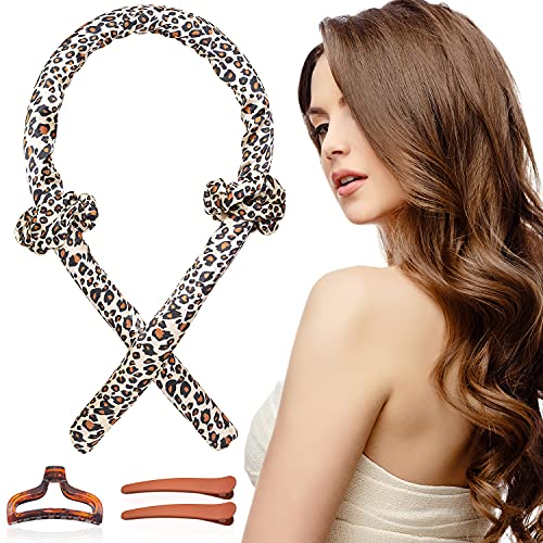Women Heatless Hair Curlers For Long Hair, Tik Tok Heatless Curling Rod Headband Sleeping Soft Rubber Hair Rollers, Curling Ribbon and Rods for Natural Hair (Leopard)