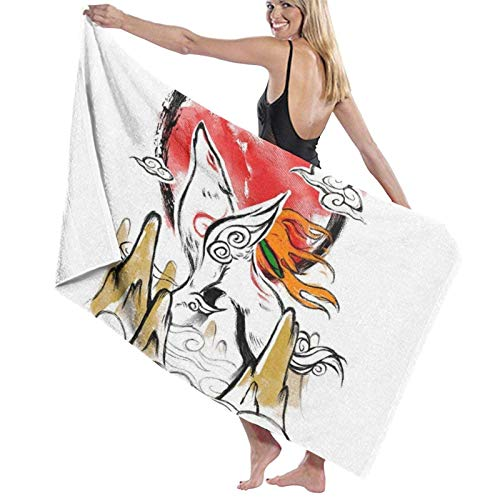 ENZOOIHUI Okami Rising Sun The Bath Towel Toalla de Playa 80X130 Cm
