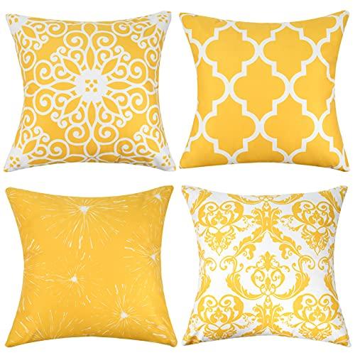 Funda de Cojines Decorativos 45x45cm Fundas Cojines Suave 45x45 Fundas de Cojín Amarillas para Sala Sofá Dormitorio Juego de 4 Cojines 18