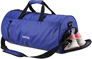 Gym Bag Dry Wet Separated, AGPTEK Carry on Duffle Bag with Shoes Compartment and Shoulder Strap, for Sport, Yoga, Travel, Fitness, Overnight Weekend Man, Women, Royal Blue