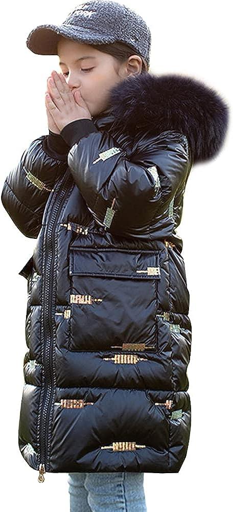 LSPAR Girls Winter Long Puffer Hood Coat Thick Padded Soft Sequins Jacket