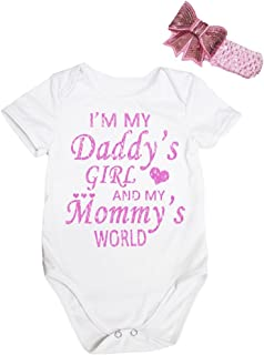 Petitebella Baby Girls' I'm My Daddy White Cotton Bodysuit Romper
