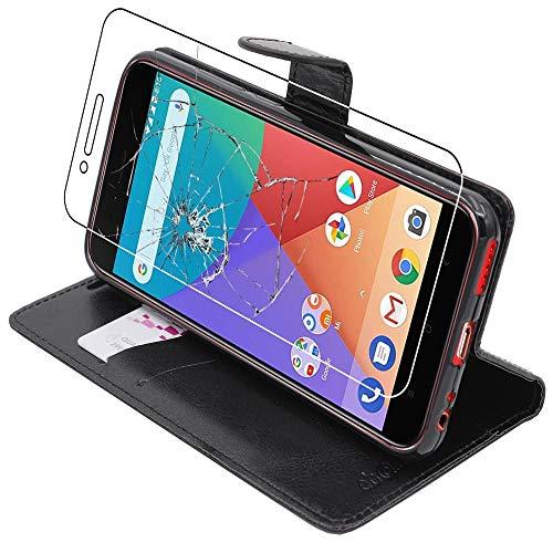 ebestStar - Funda Compatible con Xiaomi Mi A1 Carcasa Cartera Cuero PU, Funda Billetera Ranuras Tarjeta, Función Soporte, Negro +Cristal Templado Pantalla [Aparato: 155.4 x 75.8 x 7.3mm, 5.5'']