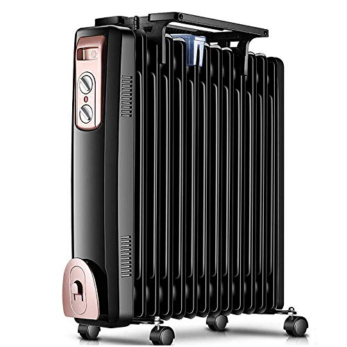 SZHWLKJ Con Aceite radiador de calefacción de lujo Champaign portátil Calentador con termostato programable, control remoto, un vuelco y OverheatingFunctions.Quiet Calentador de Ministerio del Interio