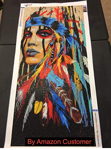 KOTART Diamond Painting Kits for Adults 16x31.5 Full Drill Native American Indian Woman 2 Accessories Adults Supplies DIY Diamond Cross Stitch Patterns Dreamcatcher Feather Set with Tools