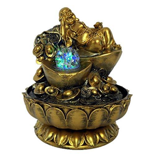 JWGD Handgefertigte Geschenke Glück Feng Shui Dekorationen Gold-Maitreya Buddha Statuen Indoor Desktop-Wasser-Brunnen mit geführten leuchtenden Bällen (Farbe : US Plug 2111, Größe : 110V)