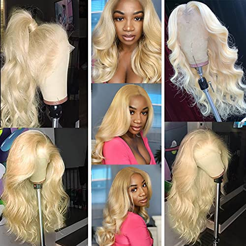 B&L Hair 613 Blonde Body Wave Lace Front Wig Human Hair 20inch 10a 13x4 613 Lace Front Wig Body Wave Human Hair with Baby Hair 150 Density lace front wigs human hair (20 Inch, 613 Blonde)