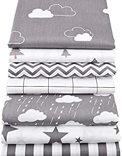 7Pcs/Set 40x50cm Gray Patchwork Cotton Fabric- Fat Quarters for Sewing- Fat Quarters Fabric Bundles Baby and Children- Quilting Fabrics Precut Squares- Patchwork Fabrics for Quilting Sewing Doll Cloth