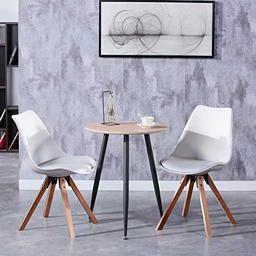 GOLDFAN Esstisch mit 2 Stühle klein Runder Tisch und Weiß Stuhl für Wohnzimmer Küche usw 60x60x75cm
