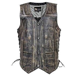 Men's 'Wreck' Distressed Brown Multi-Pocket Leather Vest