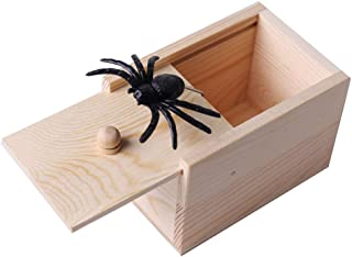 WesGen Spider Prank Scare Box,Handmade Fun Practical Joke Boxes for Halloween Party Favors and Decoration