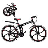 26 inch 21 Speed Folding Mountain Bike High Carbon Steel, Full Suspension MTB Bicycle for Adult, Double Disc Brake Outroad Mountain Bicycles【US Stock】 (Black&Red)