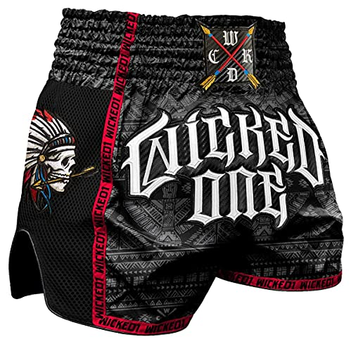 Wicked One Muay Thai Shorts Indian Skull...