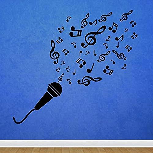 Zbzmm Microfoon noten muziek muur Rs knutselen afneembare vinyl Rs Home Decor muursticker voor kleuterschool kinderkamer decoratie 62 x 58 cm