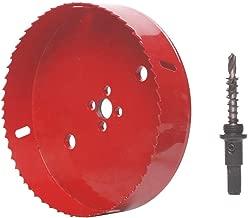 Zantle 6 inch 152 mm Hole Saw Blade for Cornhole Boards/Corn Hole Drilling Cutter & Hex Shank Drill Bit Adapter for Cornhole Game/Carbon Steel & BI-Metal Heavy Duty Steel (Red)