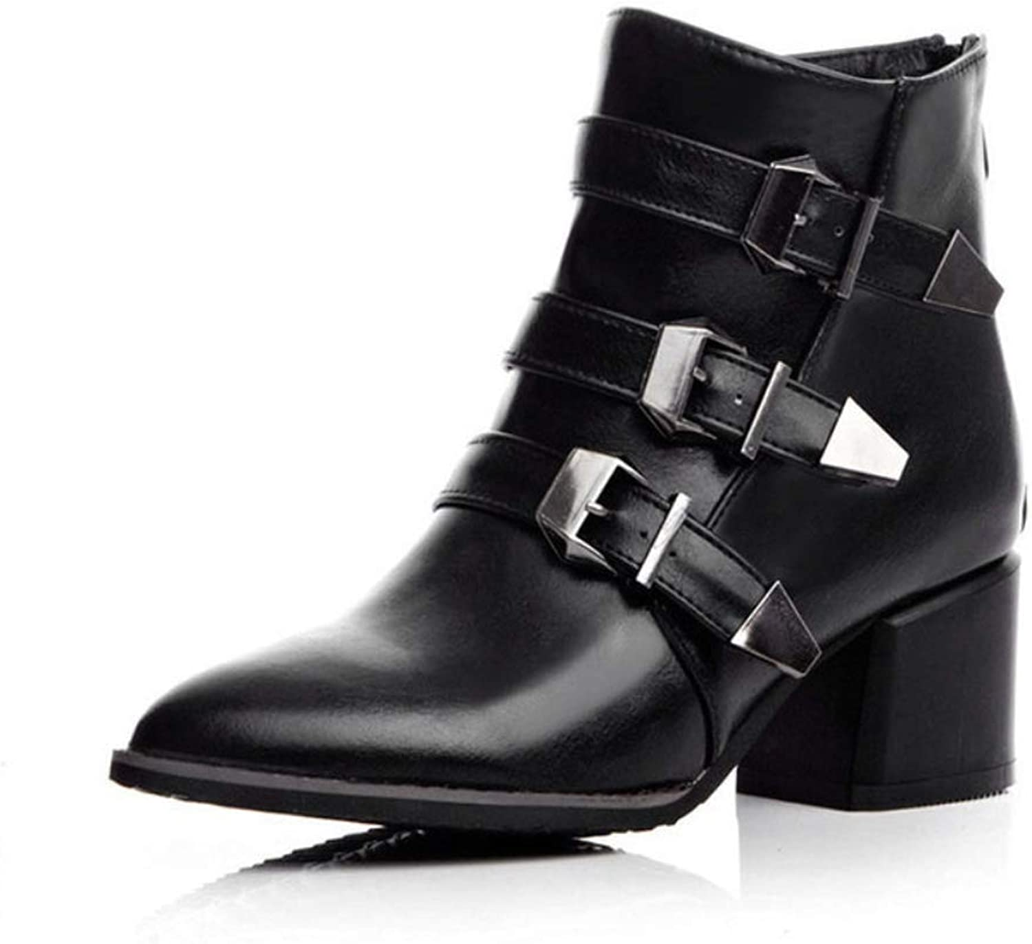 Women's Boots Buckle Chunky Heel Booties Fall Winter Fashion Boots Ankle Boots