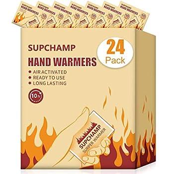 Supchamp Chauffe-Mains, 24 PCS Réchauffeurs de Gant de Poche Jetables, Jusqu'à 10 Heures de Chaleur, Chauffants à la Main Sécurisés à l'air Naturel et sans Odeur pour Les Activités de Plein Air