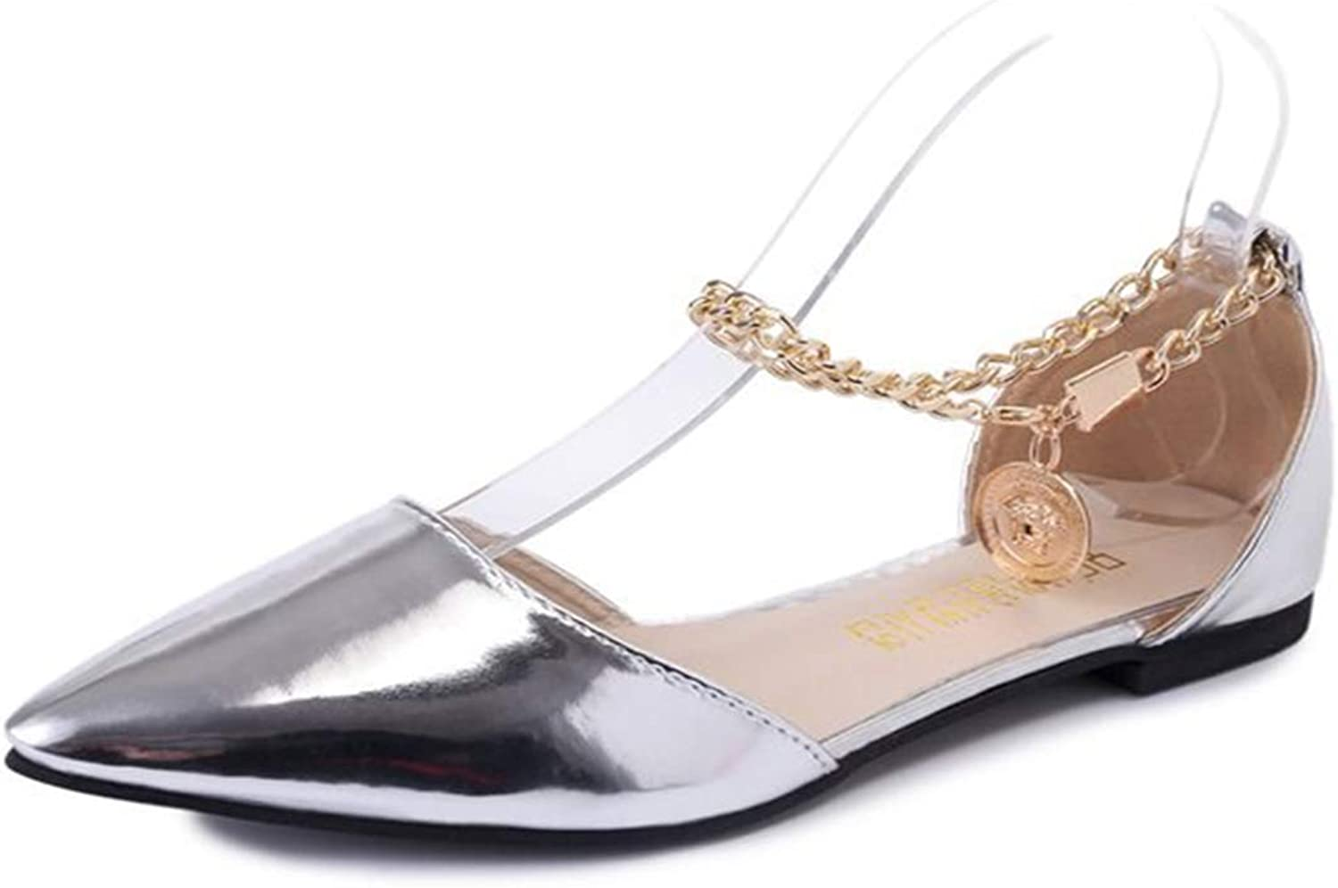 Owen Moll Women Flats, Fashion Shallow Buckle Strap Ballet Pointed Toe Slip On Chain shoes