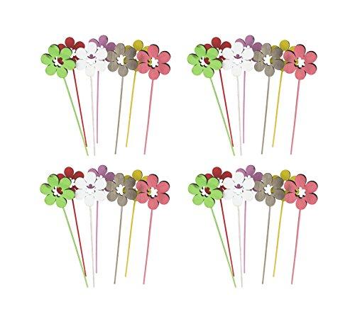 Decoline Blumen-Stecker Set aus Holz bunt 28 Stück