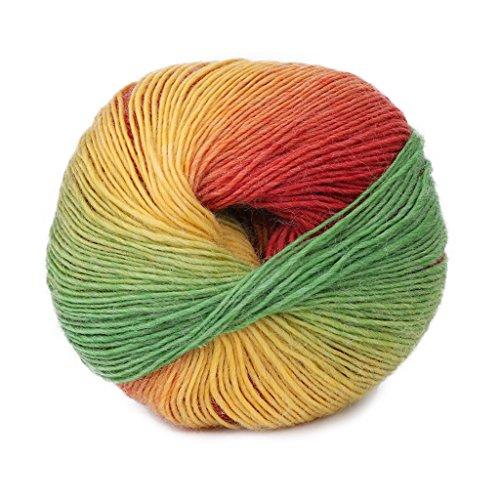 6Wcveuebuc 1 rollo de 50 g mezcla de lana de cachemir arco iris, colorido hilo de punto tejido a mano ganchillo DIY suter manta disfraz