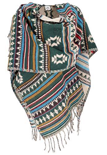 GURU SHOP Inka Ponchoschal, Poncho, Cape Schal, Damen, Dunkelgrün, Synthetisch, Size:40, Jacken, Mäntel & Ponchos Alternative Bekleidung