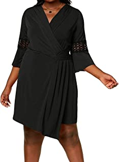 a4b655cb340 NY Collection Plus Size Crochet-Sleeve Wrap Dress