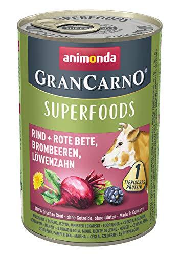 animonda Gran Carno adult Superfoods Hundefutter, Nassfutter für ausgewachsene Hunde, Rind + Rote Bete, Brombeeren, Löwenzahn, 6 x 400 g, 6er Pack (6 x 0.4 kilograms)
