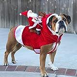 SZIYV Weihnachten Haustierkleidung, Weihnachtsmann, Santa Claus Reiten Eine Hirschjacke Mantel Haustiere Weihnachtshund Kleidung Kostüme Lustige Hund Weihnachten Outfits for großen Hund oder kleiner H