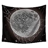 Tapiz de Fase Lunar Planeta Iluminado por la Luna Cielo Estrellado Tapices Colgantes Fondo Negro Manta Colgante Paño Dormitorio Decoración del hogar