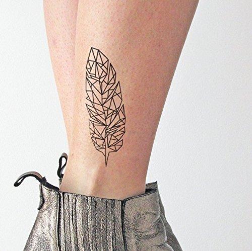 Pluma geométrica - Tatuaje temporal (conjunto de 2)