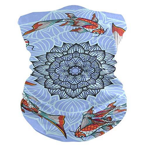 JONINOT Bufanda Multifuncional Diadema Carpa Japonesa Lotus Cuello Polaina Sombreros al Aire Libre Transpirable Sol Polvo Cara Bandana Cubierta