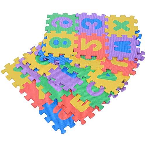 L/G Alfombra de juego suave de espuma EVA números letras niños jugando gateando 36 piezas