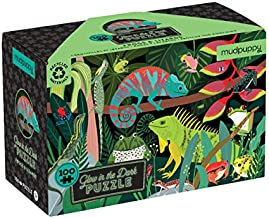 """Mudpuppy Amazing Frogs and Lizards Glow in the Dark Puzzle, 100 Pieces, 18""""x12"""" – Ages 5+ - Colorful Illustrations of Reptiles, Amphibians During the Day – Turn Out Lights to See Them Glow, Multicolor"""