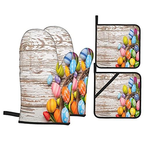 Juegos de Manoplas y Porta ollas para Horno,Tulipanes de Huevos de Pascua en tablones de Madera Guantes de Cocina Resistentes al Calor para Hornear en la Cocina, Parrilla, Barbacoa,BBQ