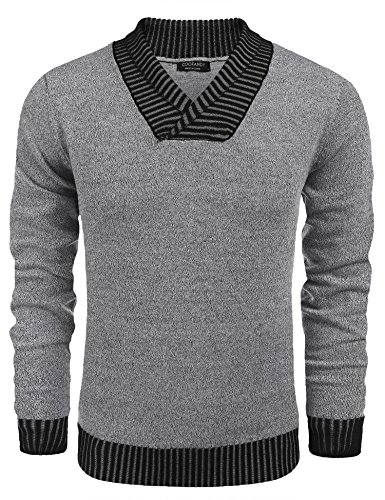 COOFANDY Men's Knitted Sweaters Casual V Neck Slim Fit Pullover Knitwear, Grey, Medium