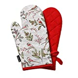 HARORBAY Oven Mitts Heat Resistant, Non-Slip Cotton Oven Gloves, Funny Cute Kitchen Mittens for Baking Cooking Christmas, 1 Pair (Cecil Birds, Red)