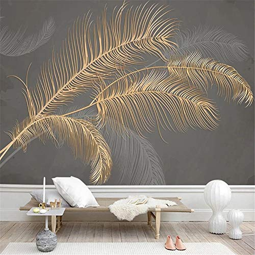 3d Tapete Fototapete Hintergrund-Tapeten 3D goldene geprägte moderne Feder benutzerdefinierte Wandbild Malerei Luxus Wohnzimmer Schlafzimmer TV Hintergrund Tapete Wandverkleidung-Über 300 * 210 cm