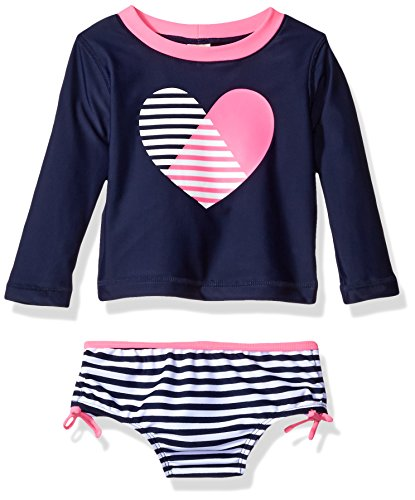Osh Kosh Baby Girls' Heart Long Sleeve Rash Guard Set, Navy, 24 Months