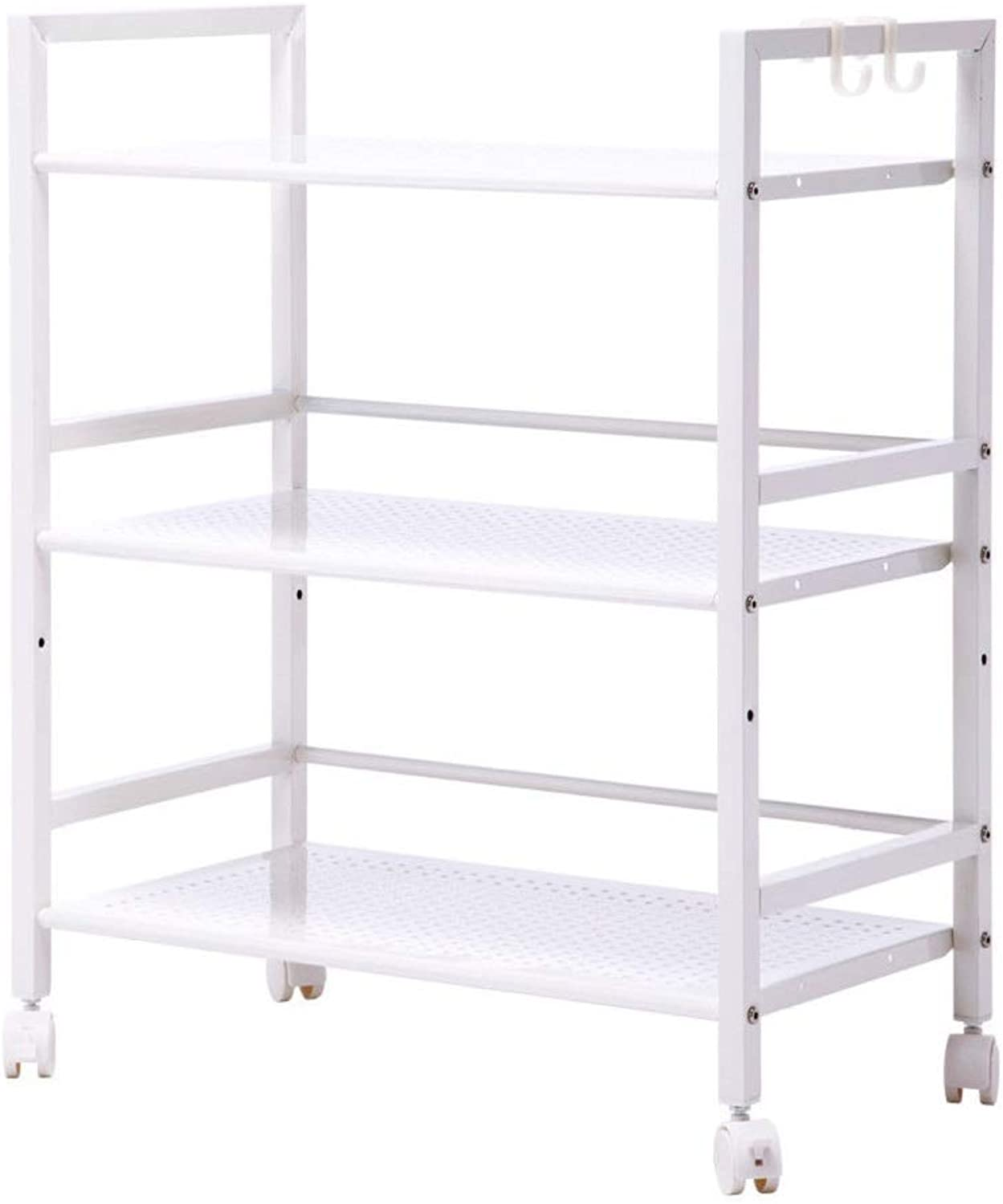 Wonderrun Trolley Cart 3Tier Storage White color Modern Honeycomb Hole Shelf for Rolling Kitchen Island Utility Rack Service Dining Home Organizer Remove